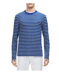 Lacoste | Blue Slub Jersey Stripe Long Sleeve Tee for Men | Lyst