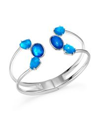 Ippolita | Blue Sterling Silver Rock Candy® Wonderland Mixed Doublet Open Wire Hinged Bangle In Island | Lyst