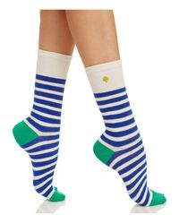 kate spade new york | Blue Saturday Stripe Crew Socks | Lyst