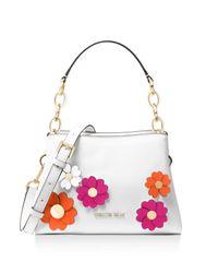 MICHAEL Michael Kors | White Portia East/west Floral Small Leather Satchel | Lyst