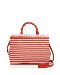 Boutique Moschino | Red Striped Ruffle Satchel | Lyst