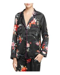 Band Of Gypsies | Black Botanical Floral Pajama Top | Lyst