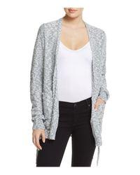 Aqua | Gray Open Front Lace-up Cardigan | Lyst