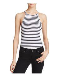 Splendid | White Striped Sleeveless Bodysuit | Lyst