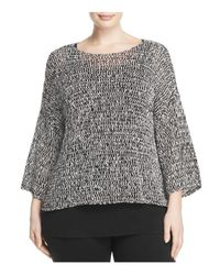 Eileen Fisher | Black Bateau Neck Boxy Sweater | Lyst