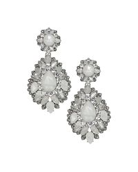 Marchesa | Metallic Rhodium, Opal, Silver-plated Drama Drop Earrings | Lyst