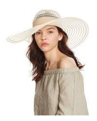 Aqua | Natural Floppy Sun Hat With Ribbon Trim | Lyst