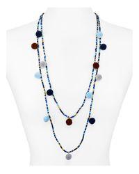 "Aqua | Blue Kira Pom Pom Necklace, 30"" | Lyst"