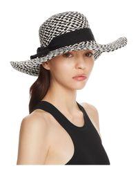 Bettina - Black Two-tone Braided Floppy Sun Hat With Ribbon Trim - Lyst