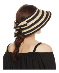 Bettina - Black Braided Straw Ribbon Stripe Visor - Lyst