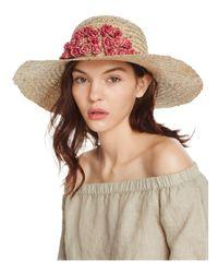 Aqua Natural Straw Floppy Sun Hat With Rosette Trim