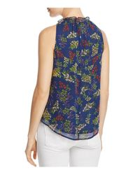 Ella Moss - Blue Printed Silk Ruffle Top - Lyst