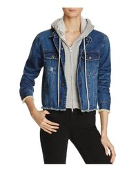 Aqua | Blue Zip Out Hoodie Denim Jacket | Lyst
