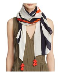 Tory Burch | Multicolor Oversized Nautical Logo Oblong Scarf | Lyst