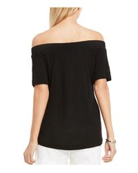 Vince Camuto | Black Smocked Off-the-shoulder Tee | Lyst