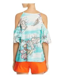 Natori - Blue Printed Cold Shoulder Top - Lyst