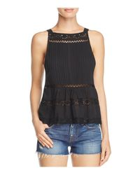 Free People | Black Constant Crush Pintucked Top | Lyst