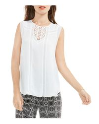 Vince Camuto | White Sleeveless Crochet Inset Blouse | Lyst
