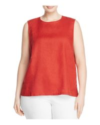 Eileen Fisher | Red Round Neck Linen Tank | Lyst