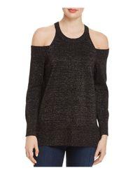 Aqua - Black Metallic Cold-shoulder Sweater - Lyst