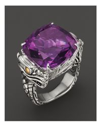 John Hardy - Multicolor Sterling Silver & 18k Gold Naga Square Ring With Amethyst - Lyst