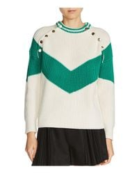 Maje - Green Mariana Color Block Sweater - Lyst