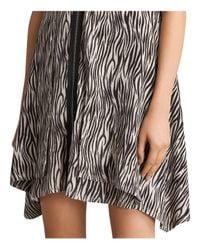 AllSaints - Black Jayda Zebra-print Silk Dress - Lyst