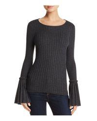 Aqua - Gray Bell Sleeve Sweater - Lyst