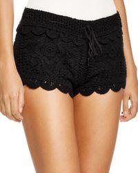 Surf Gypsy Black Crochet Swim Cover - Up Shorts