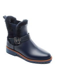 Bernardo - Blue Women's Shearling Waterproof Rain Booties - Lyst