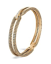 John Hardy - Metallic 18k Yellow Gold Dot Diamond Bracelet - Lyst