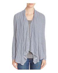 Three Dots - Black Draped Stripe Cardigan - 100% Bloomingdale's Exclusive - Lyst