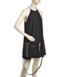 Elizabeth and James - Black Eloise Small Shearling & Embossed Leather Tote - Lyst
