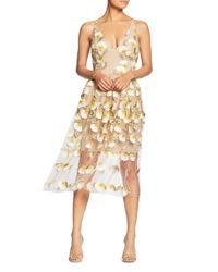 Dress the Population - Natural Audrey Spaghetti Strap Midi A-line 3d Floral Dress - Lyst