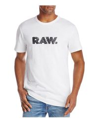 G-Star RAW - White Graphic Crewneck Short Sleeve Tee for Men - Lyst