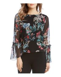 Karen Kane - Multicolor Floral Print Bell Sleeve Blouse - Lyst