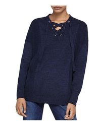 BCBGeneration - Blue Lace-up Sweater - Lyst