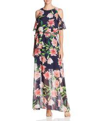Eliza J - Blue Floral Cold-shoulder Gown - Lyst