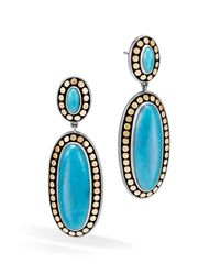 John Hardy - Blue Sterling Silver And 18k Bonded Gold Dot Oval Drop Earrings With Turquoise - Lyst