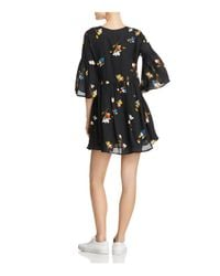 Joie - Black Avari Floral-print Silk Mini Dress - Lyst