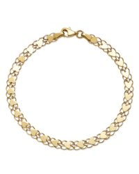 Moon & Meadow - Metallic Mirrored Heart Link Bracelet In 14k Yellow Gold - Lyst