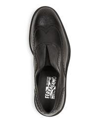 Ferragamo - Gray Men's Carl Wingtip Calfskin Loafers for Men - Lyst