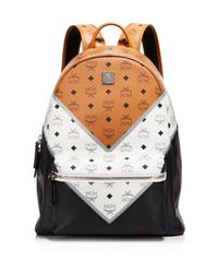 MCM - Black Chevron Visetos Backpack - Lyst