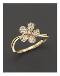 KC Designs - Metallic Small Diamond Flower Ring In 14k Yellow Gold - Lyst