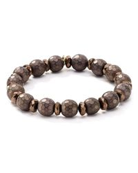 Bourbon and Boweties - Brown Faceted Stretch Bracelet - Lyst