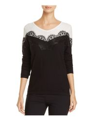 Avec - Black Lace Trimmed Color Block Top - Lyst