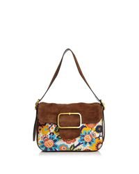 Tory Burch | Brown Sawyer Needlepoint Suede Shoulder Bag | Lyst