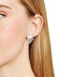 Carolee - White Stud Earrings - Lyst