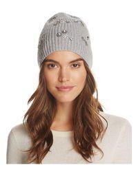 Aqua - Gray Embellished Rib Hat - Lyst