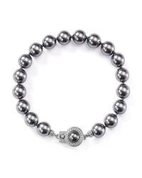 Nadri - Gray Simulated Pearl Bracelet - Lyst